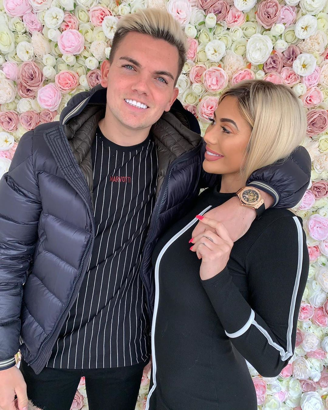 Image may contain: Chloe Ferry and Amber Davies, Chloe Ferry, Amber Davies, Sam Gowland, Instagram, what happened, drama, tea, argument, explained, together, split, cheating, Cushion, Plant, Blazer, Sleeve, Human, Person, Jacket, Coat, Apparel, Clothing