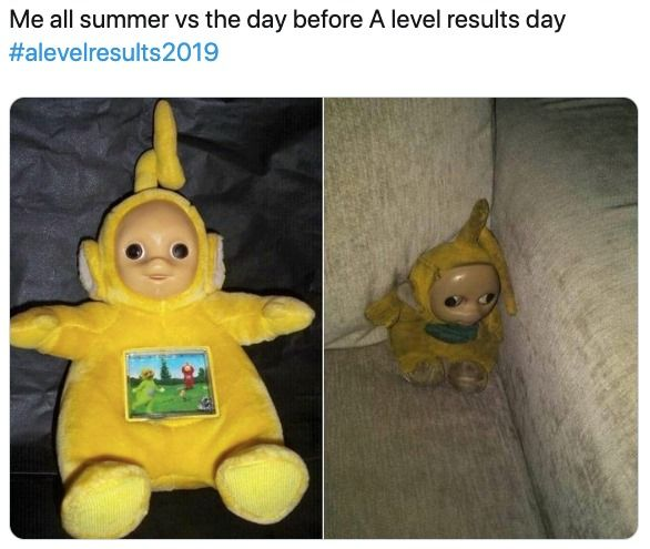 Image may contain: A-level results day memes, A-level results, A-Level, results day, memes, 2019, meme, twitter, tweet, reaction, student, college, University, uni, result, grades, students, freshers, Doll, Plush, Toy