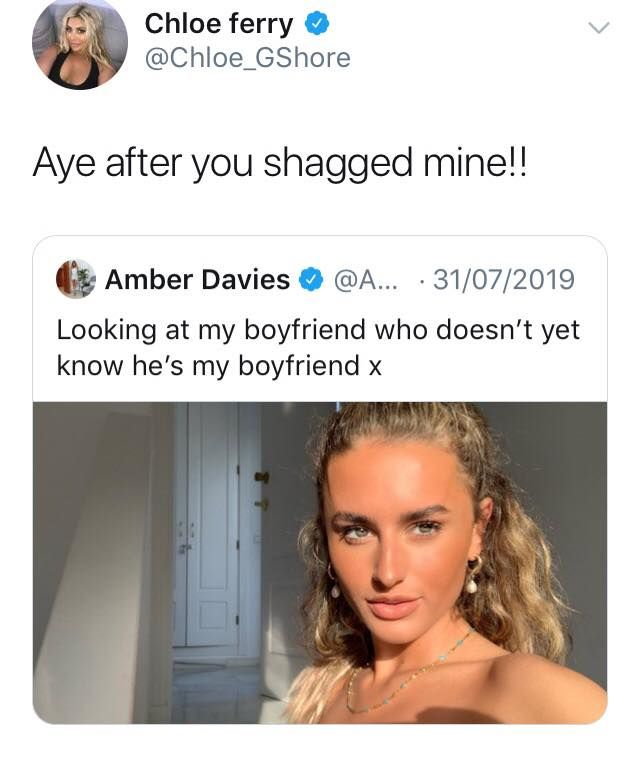 Image may contain: Chloe Ferry and Amber Davies, Chloe Ferry, Amber Davies, tweet, twitter, explained, Love island, Geordie Shore, split, together, drama, boyfriend, cheating, argument, what happened, explained, Face, Woman, Gown, Evening Dress, Fashion, Robe, Text, Female, Apparel, Clothing, Person, Human