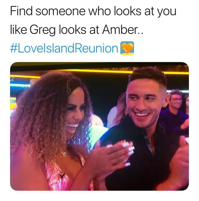 Image may contain: Love Island reunion memes, Love Island, reunion, meme, reaction, tweet, funny, last night, Greg, Amber, Female, Accessories, Sunglasses, Accessory, Text, Smile, Face, Human, Person