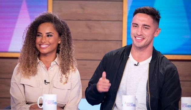 Image may contain: Love Island, gossip, news, latest, rumours, news, Amber, Greg, Amy, Loose Women, panel, job, Female, Hair, Face, Dating, Thumbs Up, Finger, Human, Person