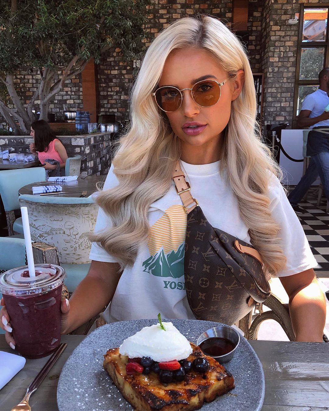 Image may contain: Love Island cast GCSE results, GCSE, results day, 2019, exams, Molly-Mae Hague, Love Island, cast, Islanders, GCSE results day 2019, Food Court, Restaurant, Food, Accessory, Sunglasses, Accessories, Human, Person