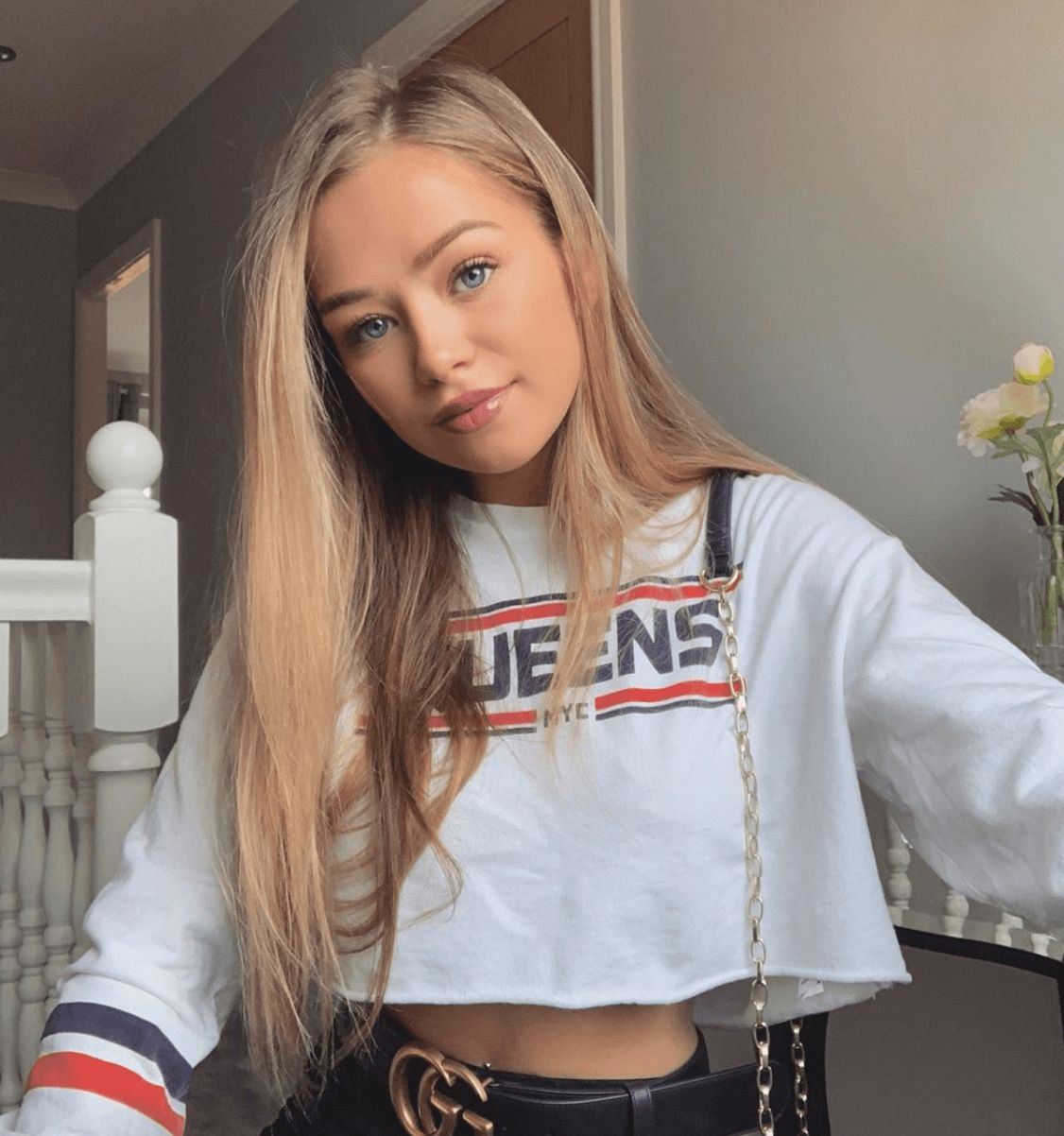 Image may contain: Connie Talbot, Britain's Got Talent, BGT, The Champions, then, now, 2019, before, after, audition, Instagram, young, old, age, job, Furniture, Sweater, Flower Arrangement, Female, Flower, Blossom, Plant, Interior Design, Indoors, Sleeve, Human, Person, Blouse, Apparel, Clothing