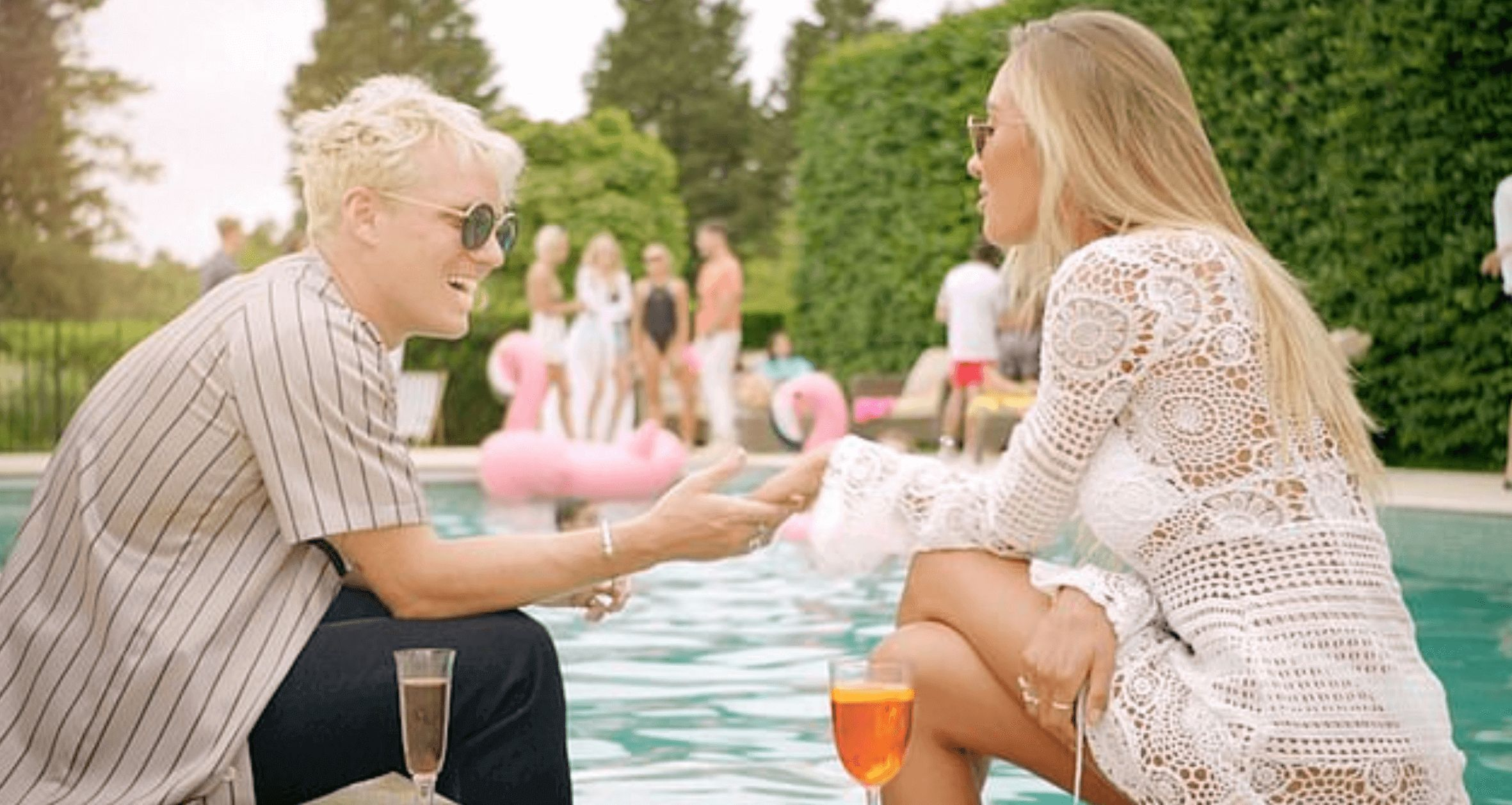 Image may contain: Made in Chelsea series 18, Made in Chelsea, 18, season, new, cast, news, trailer, start date, plot, spoilers, what happens, Jamie Laing, Sophie Habboo, Habbs, Glass, Drink, Beverage, Blonde, Female, Teen, Woman, Girl, Child, Kid, Accessory, Sunglasses, Accessories, Person, Human