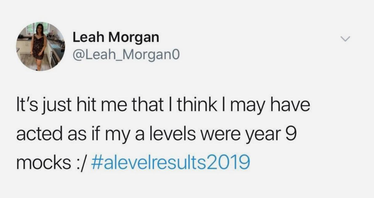 Image may contain: A-level results day memes, A-level results, A-Level, results day, memes, 2019, meme, twitter, tweet, reaction, alevel, student, course, university, Page, Business Card, Paper, Text, Person, Human