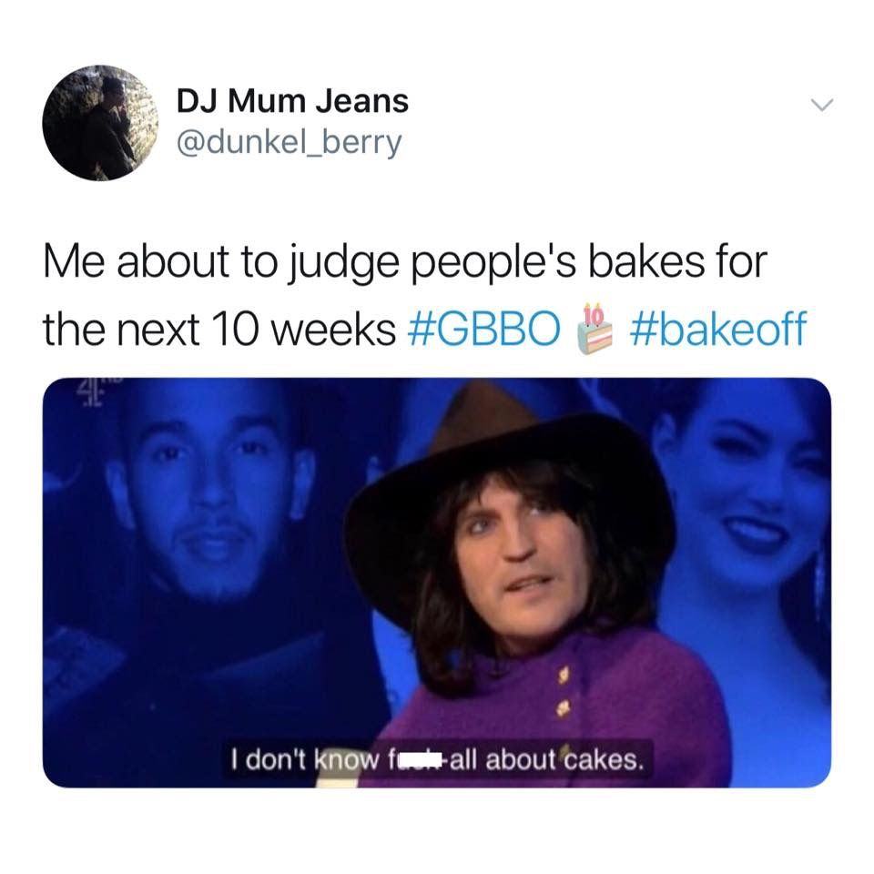 Image may contain: Great British Bake Off memes, GBBO, Bake Off, meme, episode one, Great British Bake Off, Noel Fielding, People, Id Cards, Document, Human, Person, Text