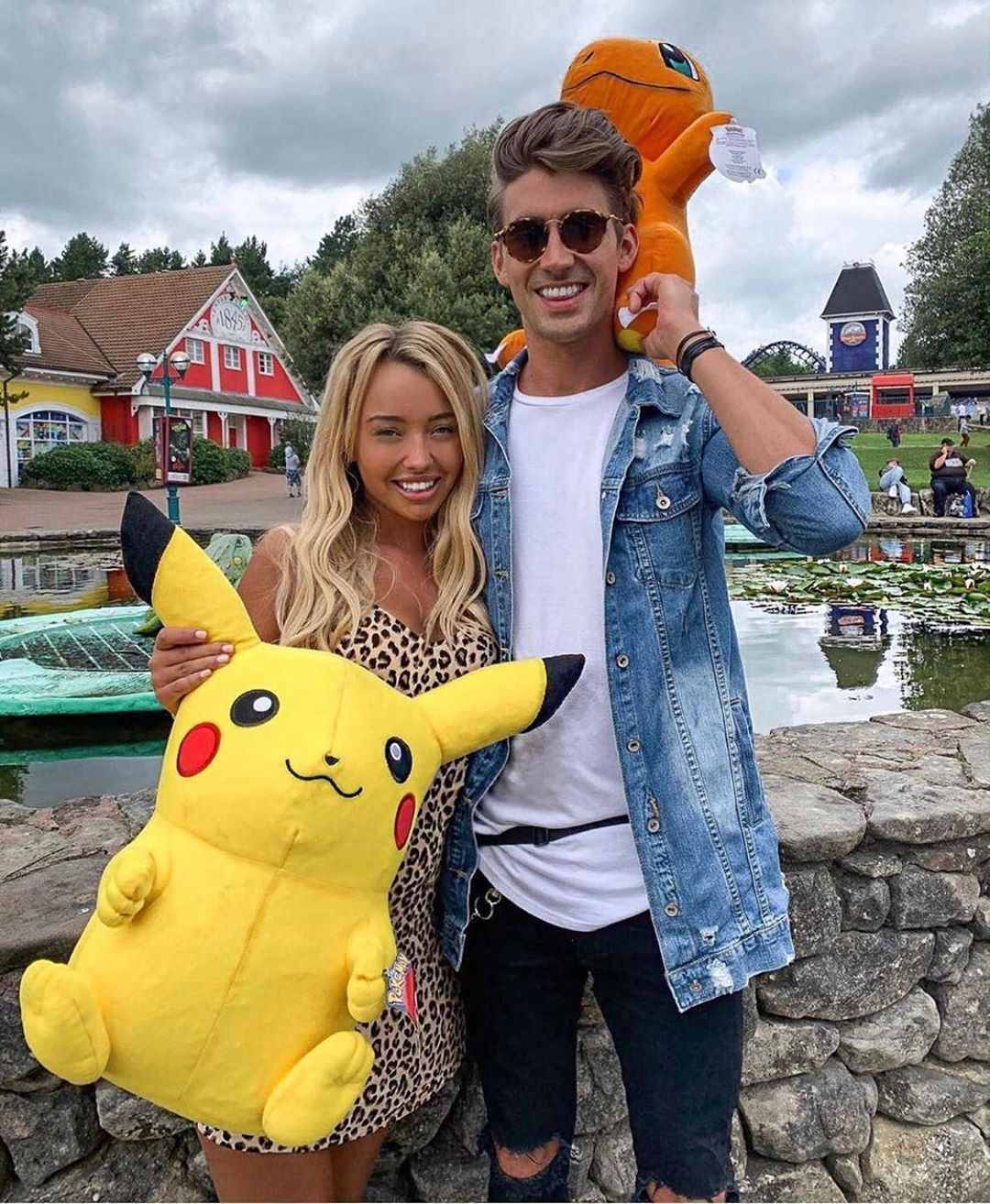 Image may contain: Chris and Harley, Love Island, Chris Taylor, Harley Brash, split, break up, broken, up, over, quits, Alton Towers, reason, why, statement, Person, Human, Accessories, Accessory, Sunglasses, Jeans, Denim, Clothing, Apparel, Pants