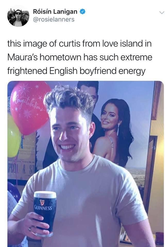 Image may contain: Love Island reunion memes, Love Island, reunion, meme, reaction, tweet, funny, last night, Curtis, Maura, Ireland, guinness, Portrait, Photography, Photo, Apparel, Clothing, Face, Person, Human