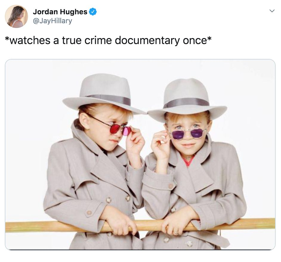 Image may contain:  90s kid memes, school, uk, meme, tweet, reaction, funny, true crime, Mary Kate and Ashley, adventures, 00s, 90s, nostalgic, Text, Face, Sun Hat, Accessory, Sunglasses, Accessories, Hat, Clothing, Apparel, Human, Person