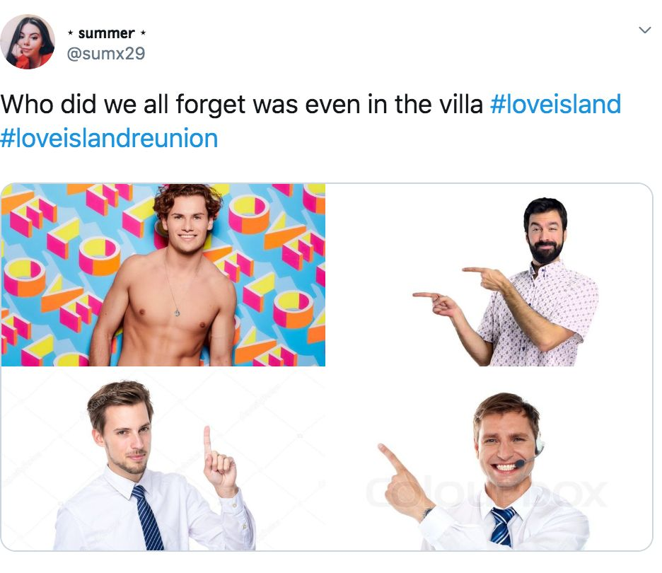 Image may contain: Love Island reunion memes, Love Island, reunion, meme, reaction, tweet, funny, last night, Joe, George, Dan, Text, Necktie, Shirt, Apparel, Clothing, Person, Human, Accessory, Accessories, Tie