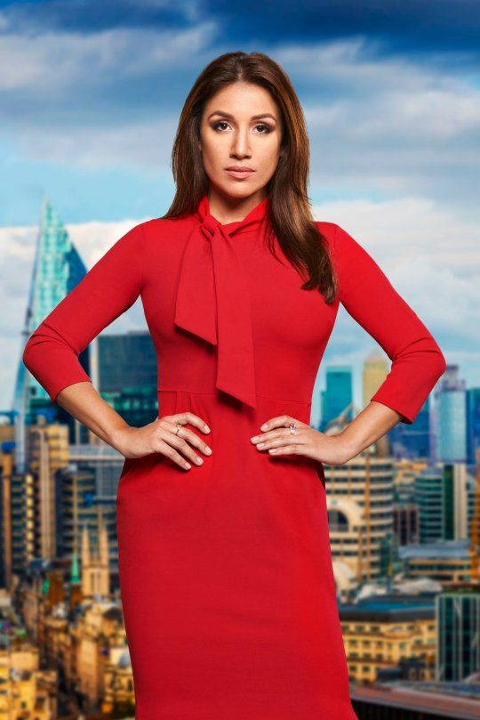 Image may contain: The Apprentice candidates 2019, The Apprentice, 2019, new, series, cast, hopefuls, candidates, lineup, contestants, Sir Alan Sugar, BBC, Jemelin Artigas, Building, City, Town, Urban, Overcoat, Coat, Suit, Woman, Female, Person, Human, Clothing, Apparel, Dress