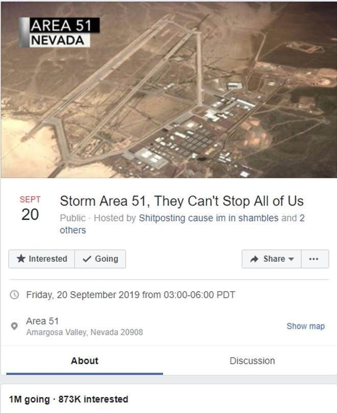 Image may contain: Area 51 raid, Area 51, Las Vegas, Nevada, storm, storming, people, time, zone, difference, Facebook, event, countdown, plan, arrests, government, Building, Text, Flyer, Advertisement, Paper, Brochure, Poster