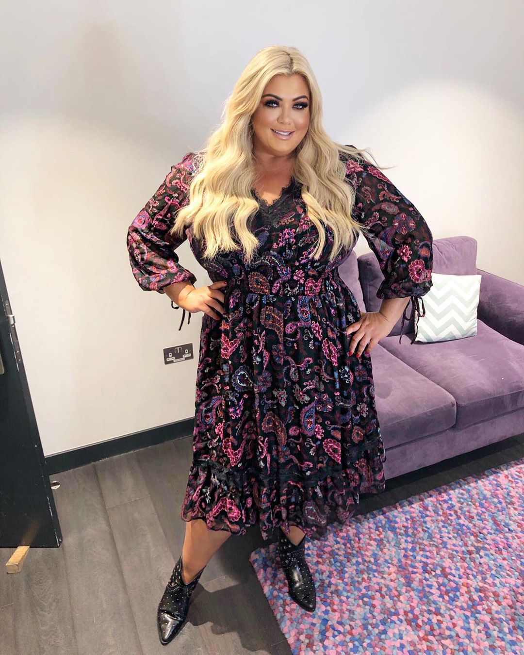 Image may contain: reality TV rich list, UK, reality TV, net worth, earnings, money, salary, rich, worth, Gemma Collins, TOWIE, Couch, Furniture, Sleeve, Woman, Female, Shoe, Footwear, Dress, Person, Human, Clothing, Apparel