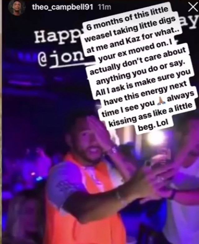 Image may contain: Theo deleted screenshots, Theo Campbell, Josh Denzel, screenshots, video, Love Island, blindness, eye, injury, Instagram story, deleted, mocking, beef, feud, drama, argument, Kaz Crossley, Disco, Leisure Activities, Club, Night Club, Person, Human