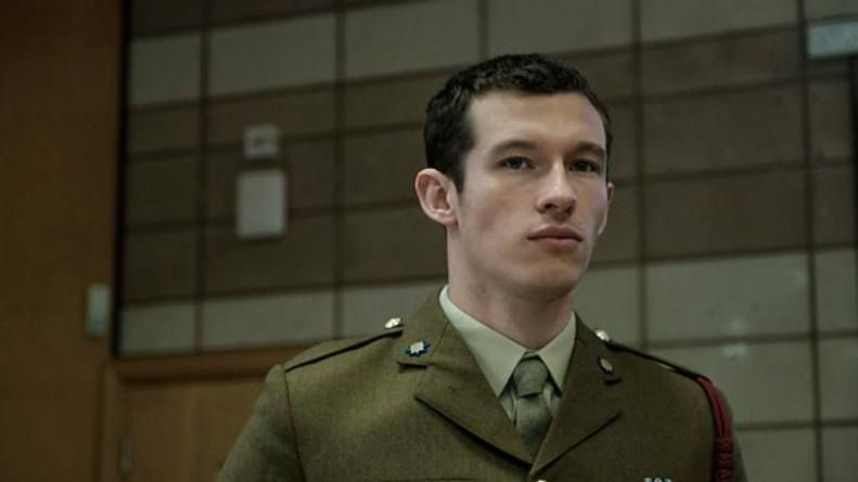 Image may contain: The Capture cast, The Capture, BBC, Callum Turner, Shaun Emery, drama, show, new, conspiracy, CCTV, about, plot, Face, Officer, Soldier, Army, Armored, Coat, Apparel, Overcoat, Clothing, Suit, Military Uniform, Military, Human, Person