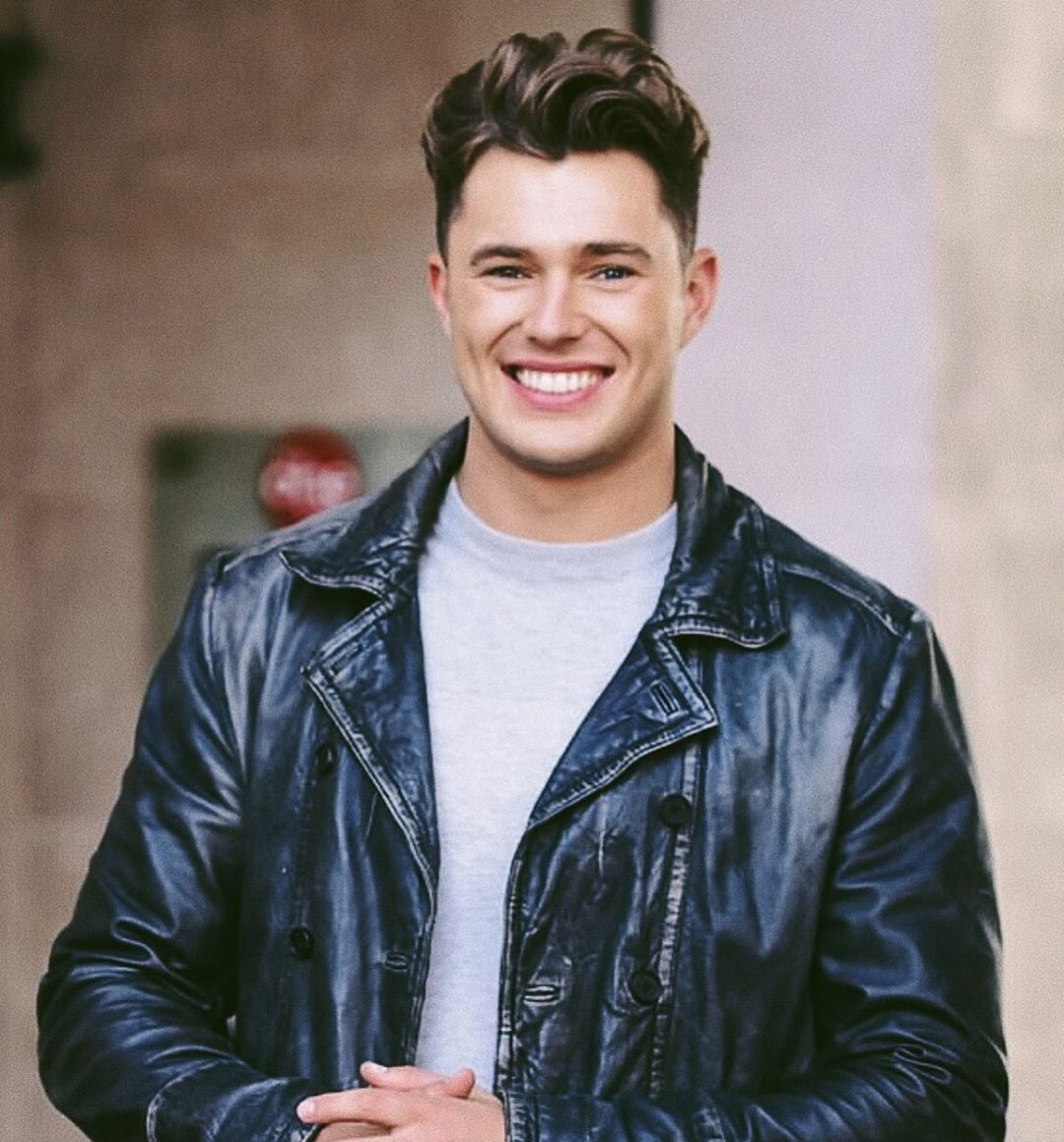 Image may contain:  Love Island 2019 contestants, Love Island, 2019, now, job, Instagram, updates, news, latest, series five, Curtis Pritchard, Leather Jacket, Human, Person, Coat, Apparel, Clothing, Jacket