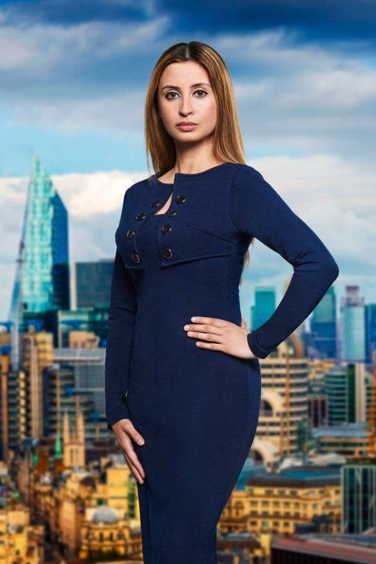 Image may contain: The Apprentice candidates 2019, The Apprentice, 2019, new, series, cast, hopefuls, candidates, lineup, contestants, Sir Alan Sugar, BBC, Lubna Farhan, Metropolis, Woman, Evening Dress, Gown, Robe, Fashion, Dress, Female, High Rise, Building, Town, Urban, City, Human, Person, Long Sleeve, Pants, Clothing, Apparel, Sleeve