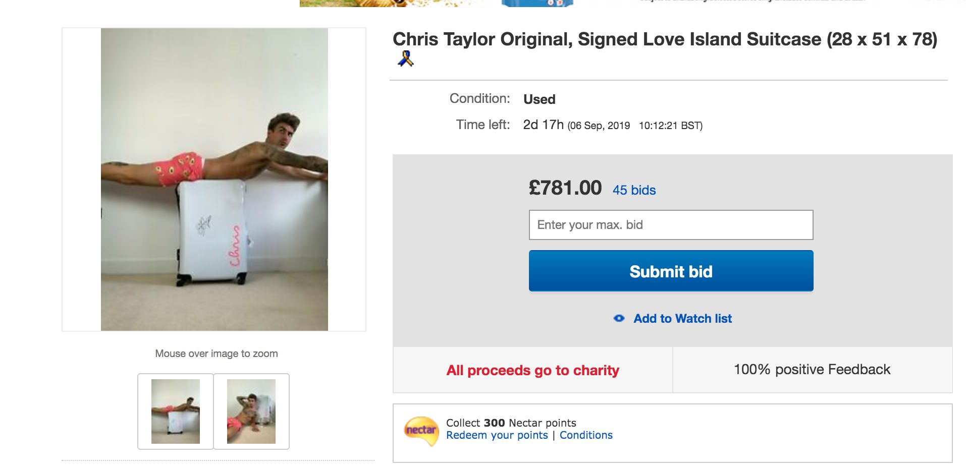 Image may contain: Love Island, Chris Taylor, merchandise, auction, eBay, merch, selling, charity, dogs trust, suitcase, Webpage, Flyer, Brochure, Paper, Advertisement, Poster, Text, File, Person, Human