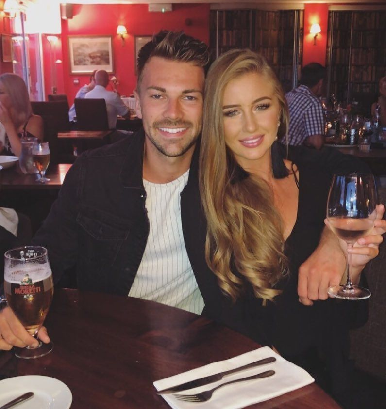 Image may contain: Ellie Brown and Charlie Brake reunion, Ellie Brown, Charlie Brake, Love Island, 2018, Ex on the Beach, series 11, cast, 2019, reunion, together, on screen, date, Georgia Steel, Sam Bird, Wine Glass, Wine, Furniture, Dating, Glass, Beverage, Drink, Alcohol, Beer, Food Court, Food, Restaurant, Bar Counter, Pub, Human, Person