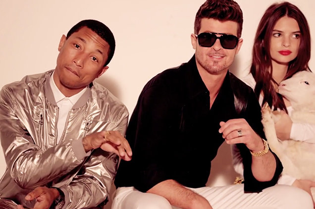 Pharrell Williams Blurred Lines, Pharrell Williams, Blurred Lines, interview, banned, ban, Robin Thicke, embarrassed, sexism, models, video, Emily Ratajkowski