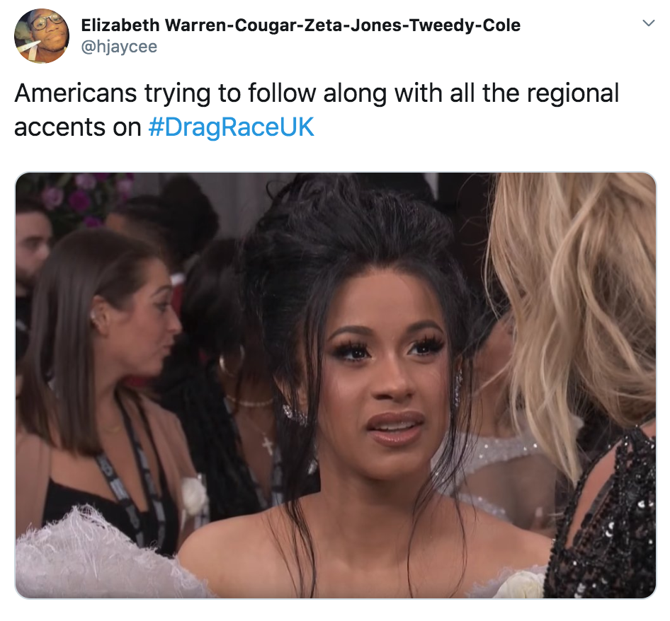 Drag race memes, RuPaul's Drag Race UK, RuPaul, Drag race, UK, episode, one, first, series, BBC Three, iPlayer, meme, reaction, twitter, tweet, Kim Woodburn, stamp, Gothy Kendoll, Alan Carr, Vinegar Strokes, slag, American, slang