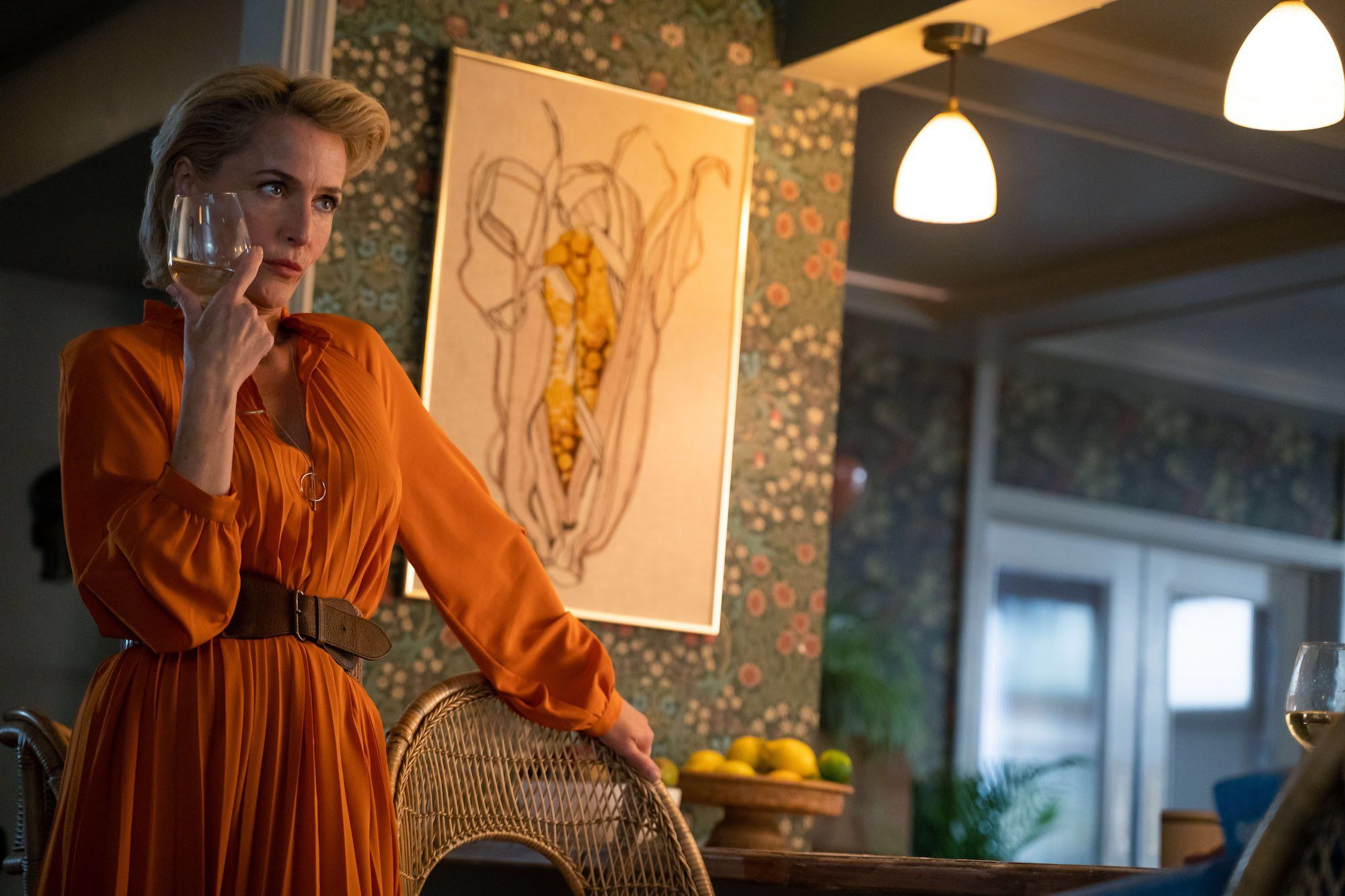 Image may contain: Art, Gown, Evening Dress, Robe, Fashion, Home Decor, Sleeve, Human, Person, Apparel, Clothing, sex education season 2 preview, netflix, otis milburn