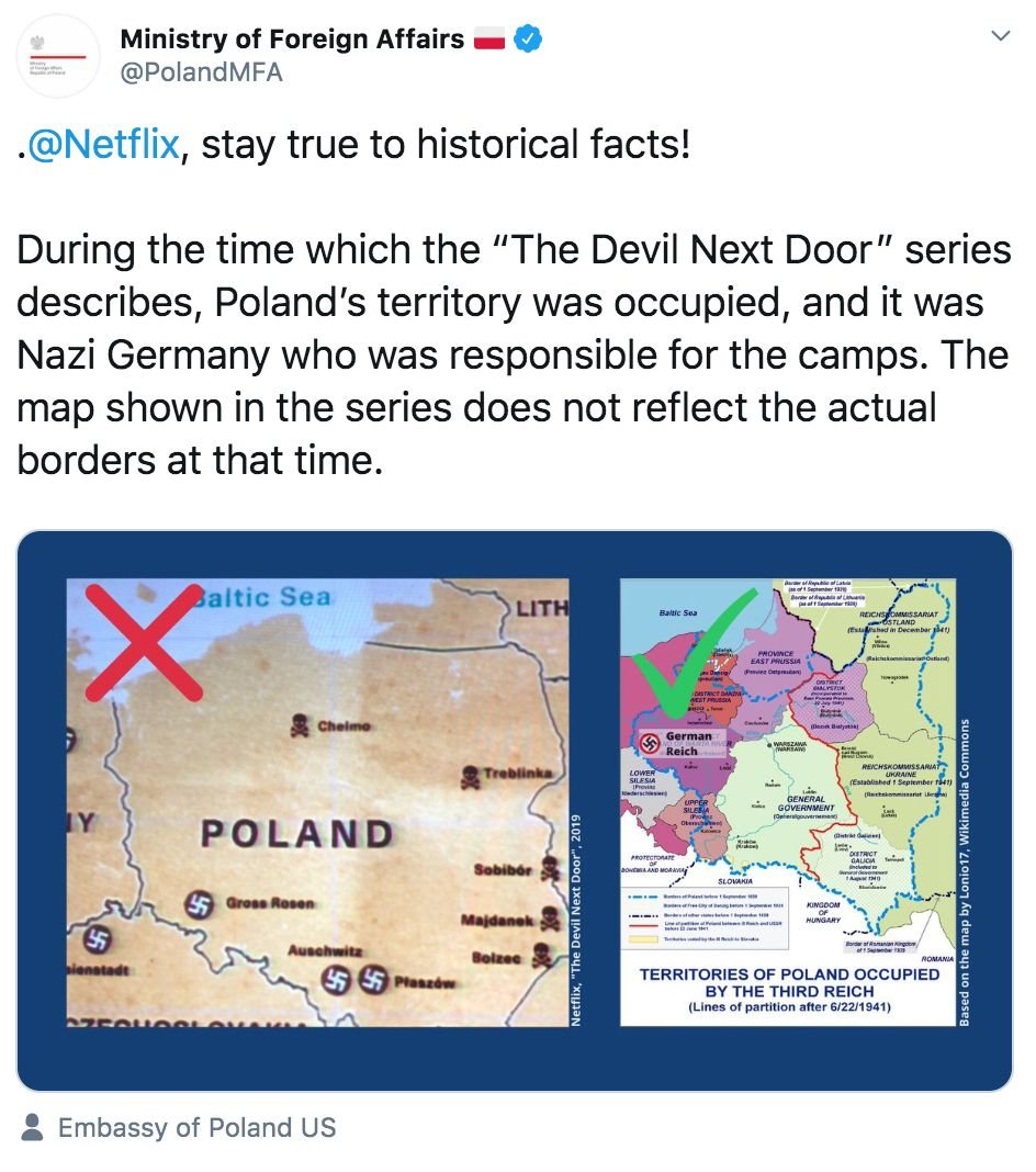 Image may contain: The Devil Next Door, Poland, complain, complaint, Prime Minister, innaccurate, history, Atlas, Plot, Map, Diagram
