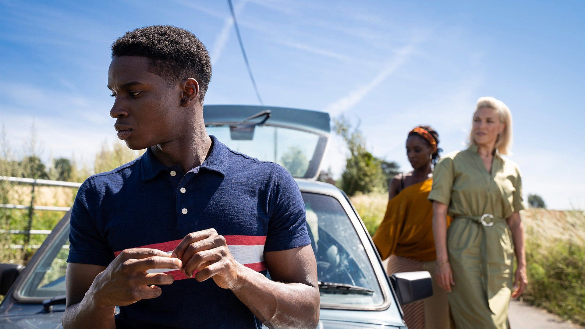 Image may contain: Finger, Undershirt, Vehicle, Automobile, Car, Transportation, Clothing, Apparel, Human, Person, sex education season 2 preview, netflix, otis milburn