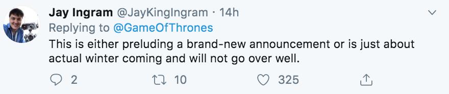 Game of Thrones remake, Game of Thrones, GoT, remake, season 8, theories, cryptic tweet, Twitter, Winter is Coming, meme, reaction