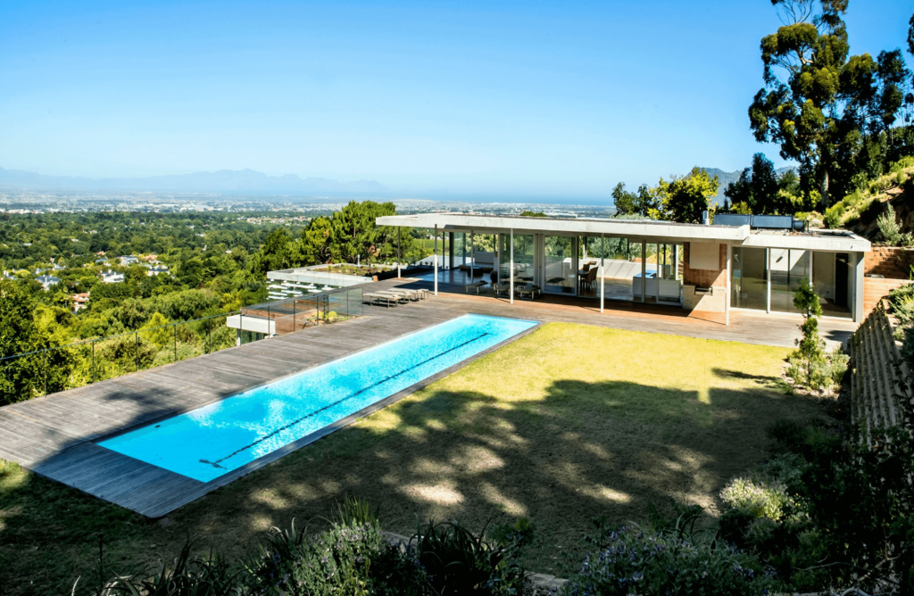 winter Love Island villa, winter, Love Island, 2020, South Africa, Cape Town, villa, house, pool, fire pit, day beds