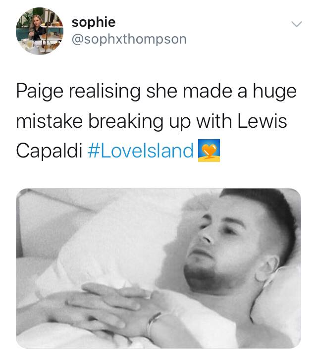 Love Island, memes, meme, reaction, Twitter, funny, savage, winter, winter love island, south africa, cape town, Paige, Lewis Capaldi
