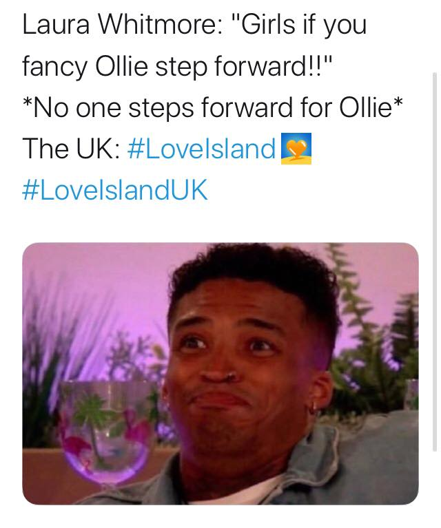 Love Island, memes, meme, reaction, Twitter, funny, savage, winter, winter love island, south africa, cape town, Ollie, hunting, Laura Whitmore