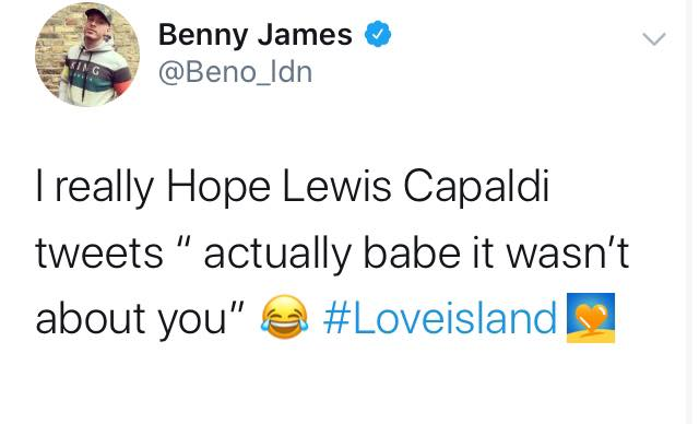 Love Island, memes, meme, reaction, Twitter, funny, savage, winter, winter love island, south africa, cape town, Lewis Capaldi, Paige