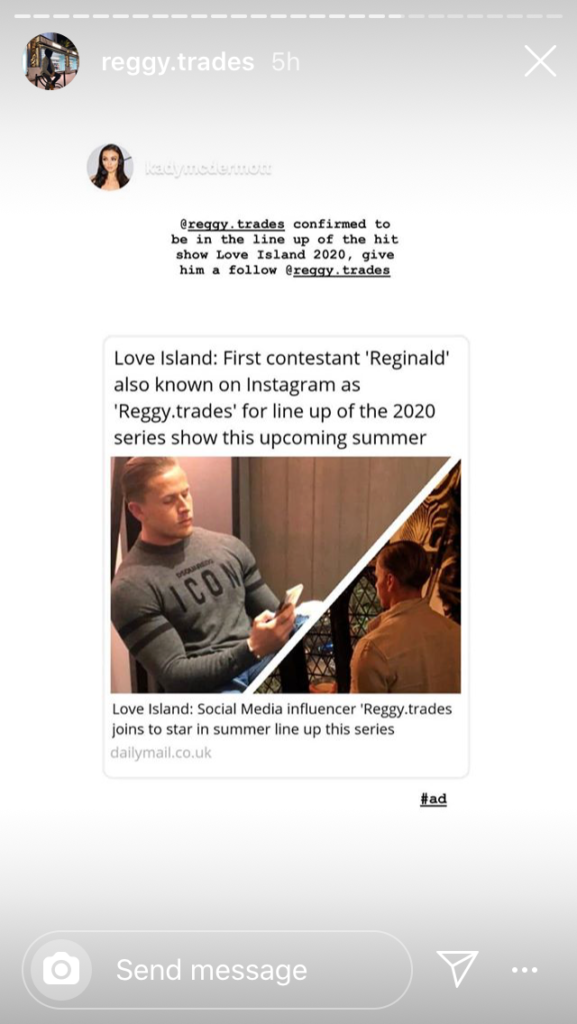 Love Island, 2020, Reggy Trades, Reginald, Daily Mail, contestant, Instagram