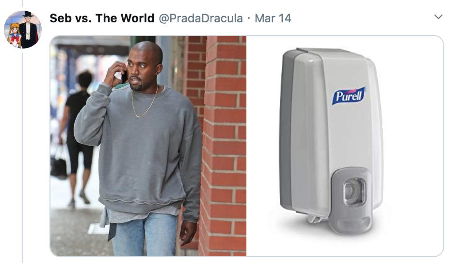 celebrities as hand sanitisers, hand sanitiser, sanitizer, hand, gel, meme, celebs, celebrity, Twitter, thread, coronavirus, COVID-19, wash, Kanye West