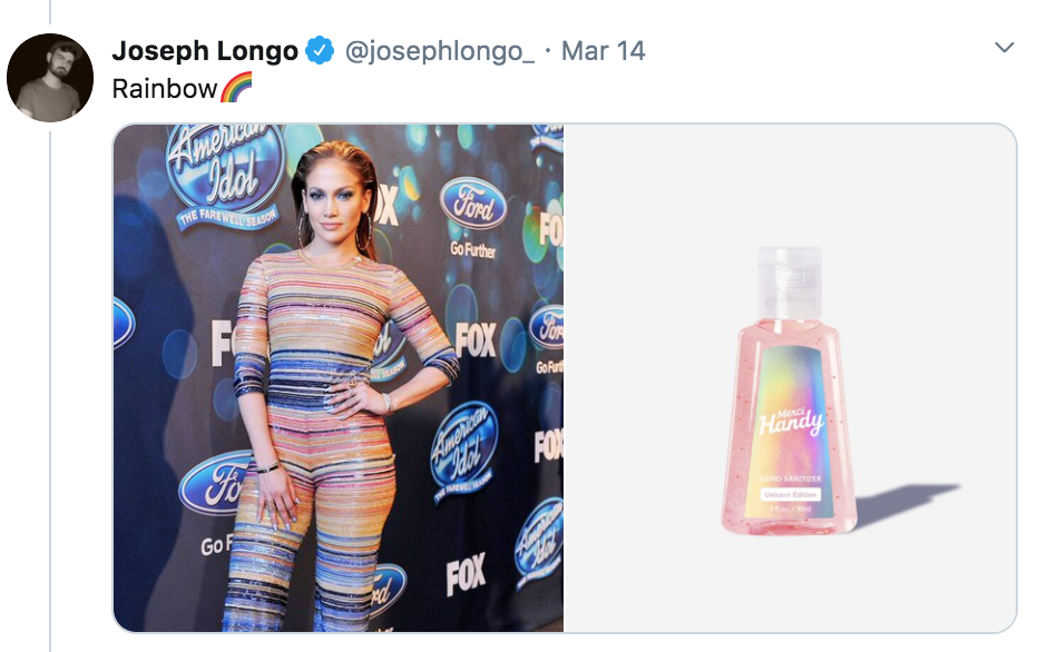 celebrities as hand sanitisers, hand sanitiser, sanitizer, hand, gel, meme, celebs, celebrity, Twitter, thread, coronavirus, COVID-19, wash, Jennifer Lopez