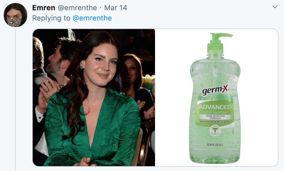 celebrities as hand sanitisers, hand sanitiser, sanitizer, hand, gel, meme, celebs, celebrity, Twitter, thread, coronavirus, COVID-19, wash, Lana Del Rey