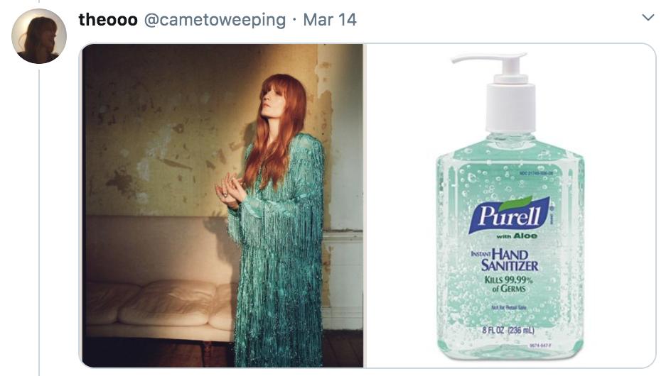 celebrities as hand sanitisers, hand sanitiser, sanitizer, hand, gel, meme, celebs, celebrity, Twitter, thread, coronavirus, COVID-19, wash, Florence Welch
