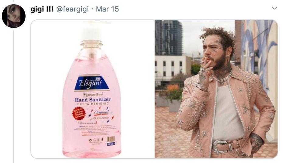 celebrities as hand sanitisers, hand sanitiser, sanitizer, hand, gel, meme, celebs, celebrity, Twitter, thread, coronavirus, COVID-19, wash, Post Malone