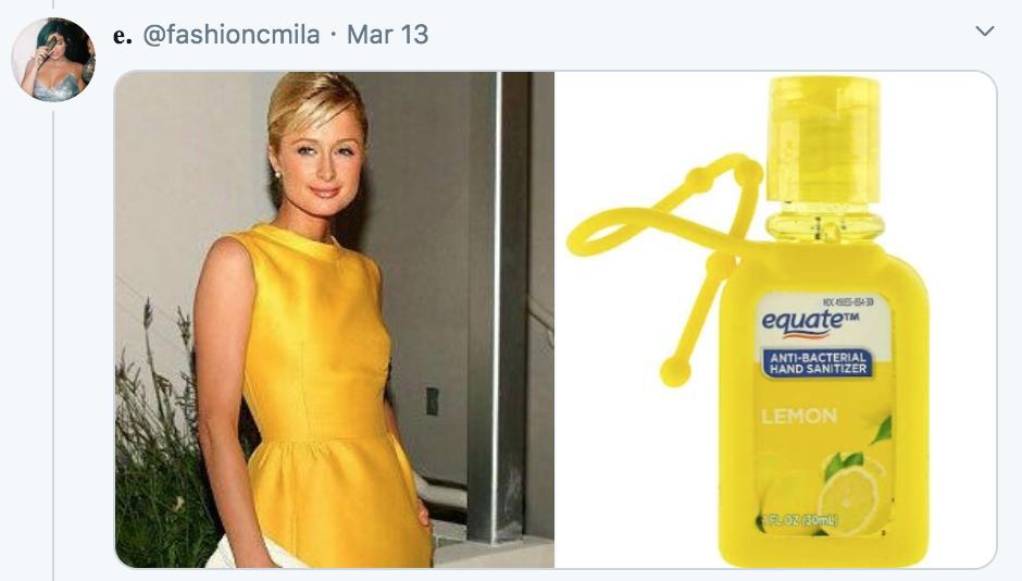 celebrities as hand sanitisers, hand sanitiser, sanitizer, hand, gel, meme, celebs, celebrity, Twitter, thread, coronavirus, COVID-19, wash, Paris Hilton