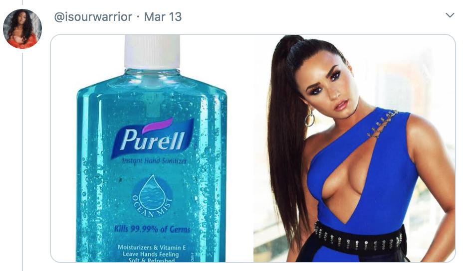 celebrities as hand sanitisers, hand sanitiser, sanitizer, hand, gel, meme, celebs, celebrity, Twitter, thread, coronavirus, COVID-19, wash, Demi Lovato