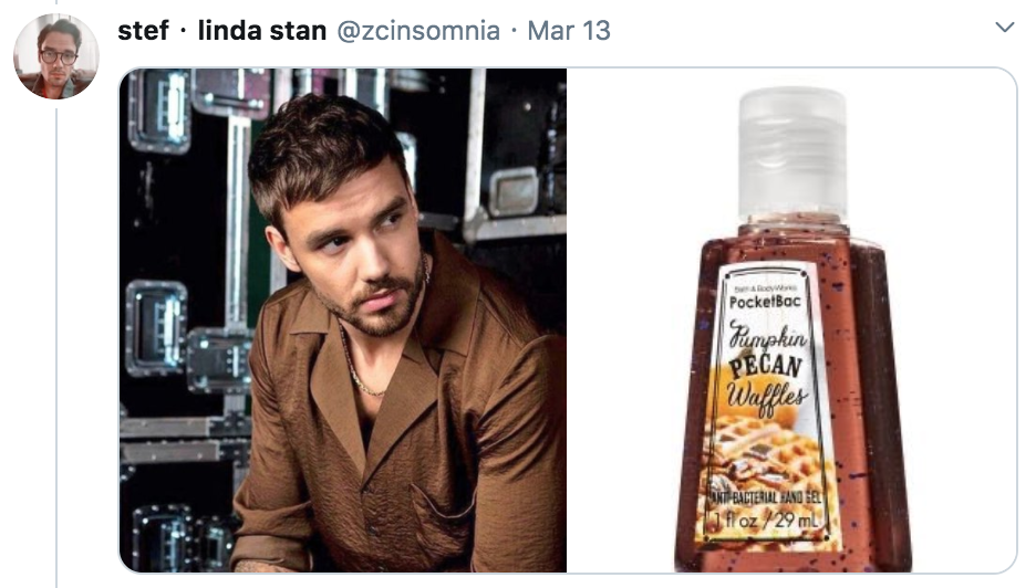 celebrities as hand sanitisers, hand sanitiser, sanitizer, hand, gel, meme, celebs, celebrity, Twitter, thread, coronavirus, COVID-19, wash, Liam Payne