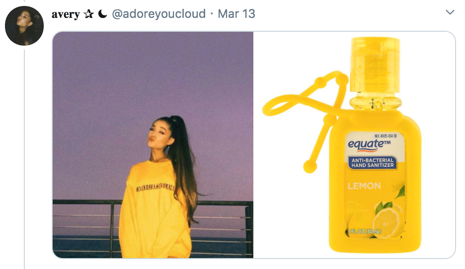 celebrities as hand sanitisers, hand sanitiser, sanitizer, hand, gel, meme, celebs, celebrity, Twitter, thread, coronavirus, COVID-19, wash, Ariana Grande
