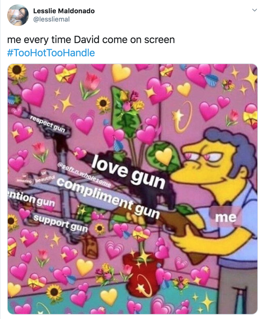 Too Hot To Handle, memes, Netflix, meme, reaction, Twitter, David