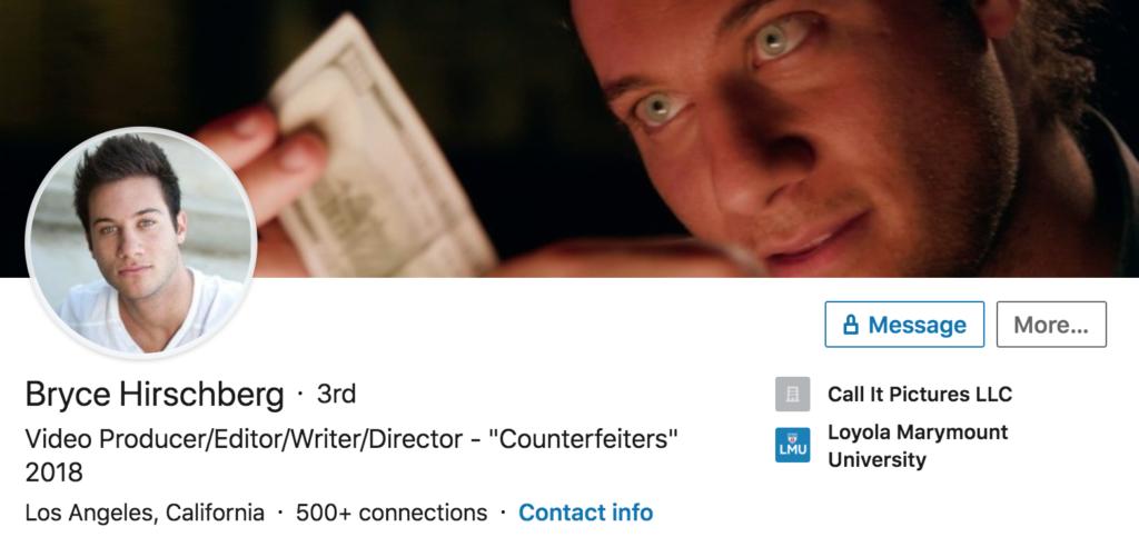 Bryce Hirschberg, LinkedIn, profile