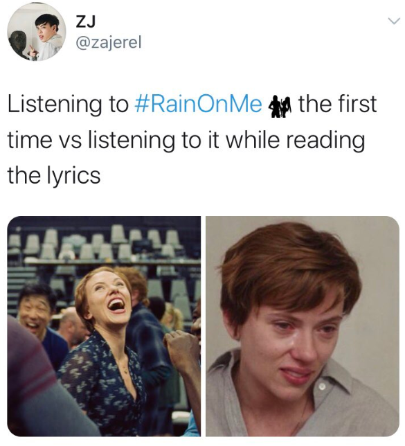 Rain On Me memes and reactions