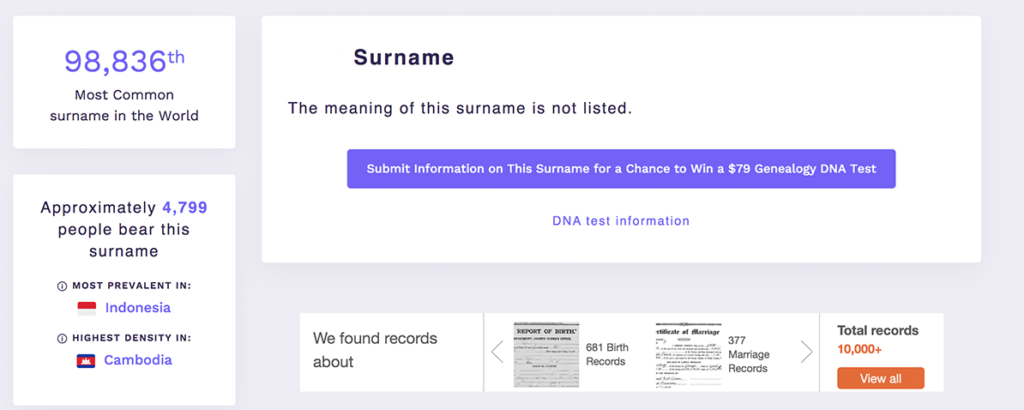 surname, common, statistics, rare, site, Forebears, find out