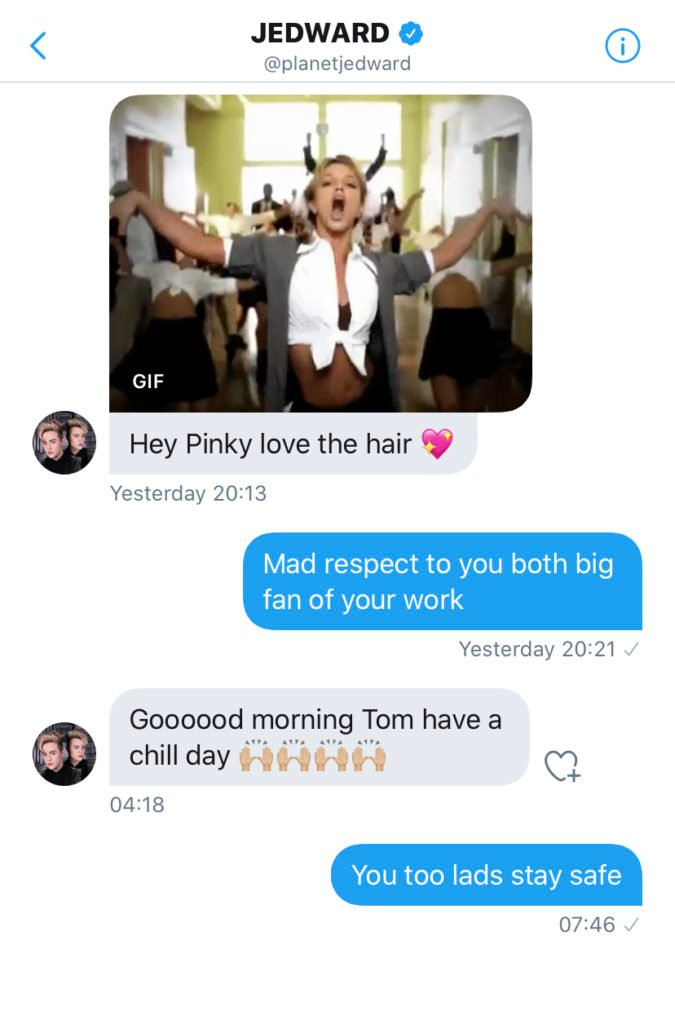 Jedward personalised messages Twitter, Twitter DMs from John and Edward