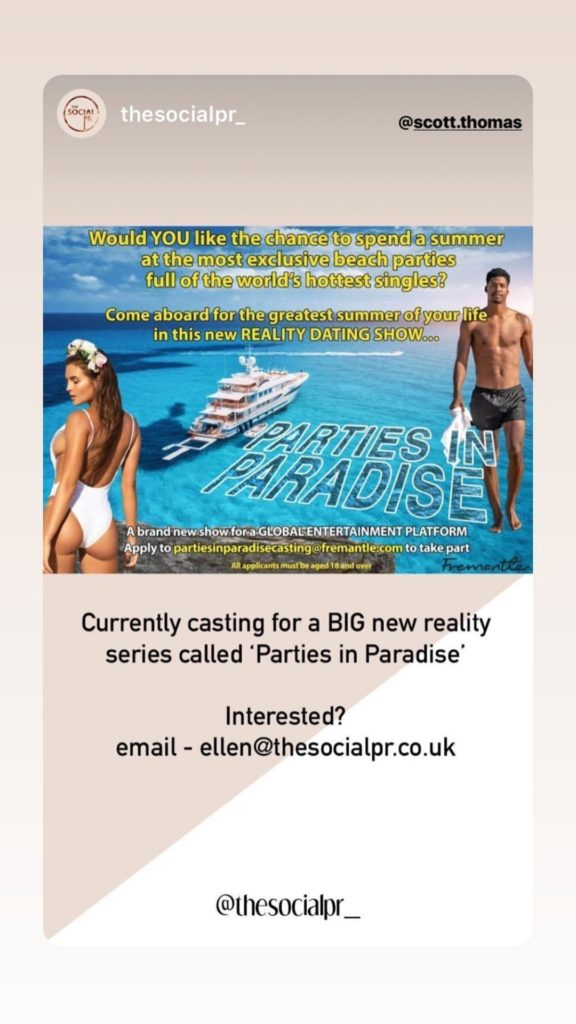 Parties in Paradise, Love Island, new, dating, reality, TV, show, about, Scott Thomas, applications