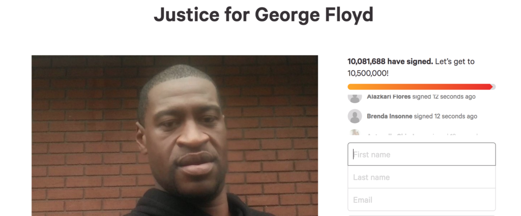 George Floyd, petition, change.org, sign, where, how, signatures, most, history, biggest